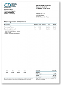 Exemple de facture avec l'appli Dux-facti pour iOS sur iPhone et iPad