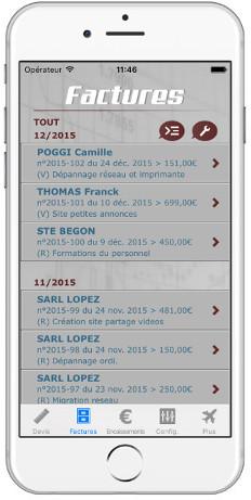 Logiciel de facturation sur iPhone iPad et Android
