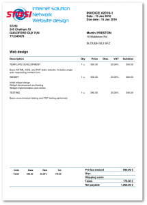 Invoice example with Dux-facti app for iOS on iPhone and iPad