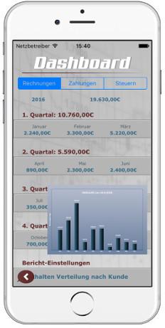Rechnung Dashboard ios App dux-facti
